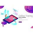online training digital learning landing web page vector image vector image