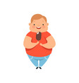 overweight boy eating ice cream cute chubby child vector image vector image