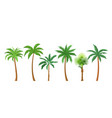 palm trees flat color set vector image vector image