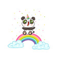 panda with unicorn horn on rainbow vector image
