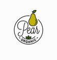 pear fruit logo round linear logo vector image