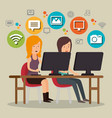 people working with social media icons vector image vector image