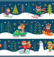 seamless pattern winter fun with animals vector image vector image