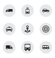 set of 9 editable transportation icons includes vector image vector image