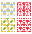 set of dollar currency and red hearts bank vector image
