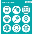 set of round icons white Dental treatment tooth vector image vector image