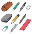 set pencil case vector image vector image