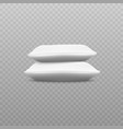 side view two white pillows stack realistic vector image vector image