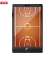 smartphone with a basketball field on screen vector image vector image