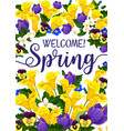 spring season banner with flower blooming plant vector image vector image