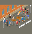 street performance isometric composition vector image vector image