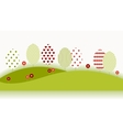 Summer garden landscape with red flowers vector image vector image