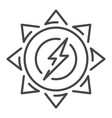 sun energy icon outline style vector image