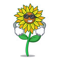super cool sunflower character cartoon style vector image