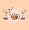 tea fresh brewed tea-brew a kettle pour into a vector image vector image