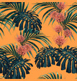 tropical exotic plants seamless pattern vector image vector image