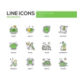types insurance - line design icons set vector image