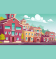 urban street landscape retro residential buildings vector image