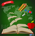 Welcome back to school Opened flying books vector image
