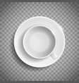 white empty ceramic cup and saucer vector image vector image