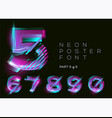 neon 3d typeset glowing text effect vibrant vector image