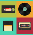 set of retro audio video and data storage on a vector image
