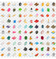 100 interior icons set isometric 3d style vector image vector image