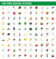 100 religion icons set cartoon style vector image vector image