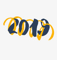 2019 - new year lettering with doodle on white vector image