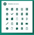 25 list icons vector image vector image