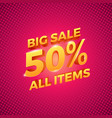 3d modern sale banner for advertising discounts vector image vector image