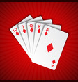 a royal flush of diamonds on red background vector image vector image