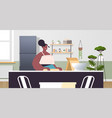 african american woman preparing food at home vector image