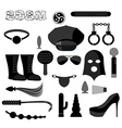 BDSM set icons Accessories sadist masochist love vector image vector image