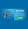 bike repair concept banner isometric style vector image