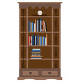 Bookcase with old shelf clock vector image