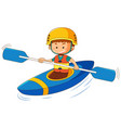 boy in blue canoe vector image vector image
