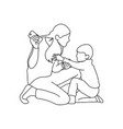 boy trying to take mobile phone from his mother vector image