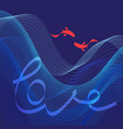 bright blue background with waves and fishes vector image