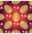 Bright red pattern with Easter golden eggs vector image
