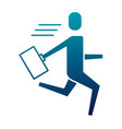 businessman running with briefcase success vector image