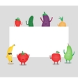 Cartoon fruits and vegetables Eco food background vector image vector image