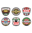 casino poker club sign premium jackpot gambling vector image