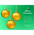 Christmas card with gold pendants in the shape of vector image vector image