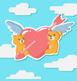 couple teddy bear hugging winged heart greeting vector image vector image