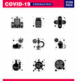 covid19-19 icon set for infographic 9 solid glyph vector image vector image