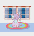 cute cat animal in the rug with window vector image vector image