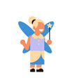cute girl wear magic fairy costume happy halloween vector image