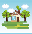 cute house with trees design vector image vector image
