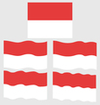 Flat and Waving Flag of Monaco vector image